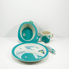 kids bamboo tableware set whale design