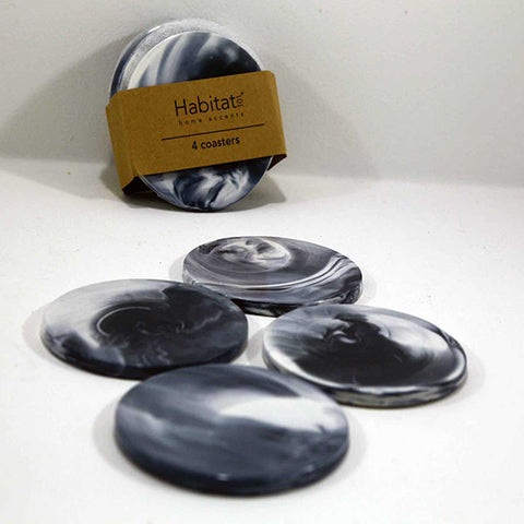 Coasters - black marbled porcelain - set of 4