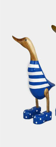 Duck hand carved blue stripes small