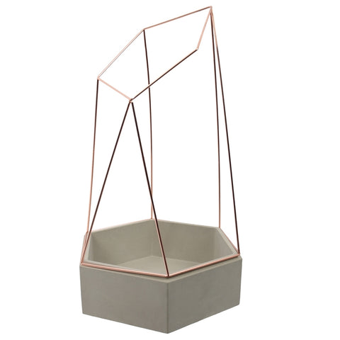 Planter - polished concrete - hex shape with copper wire cage