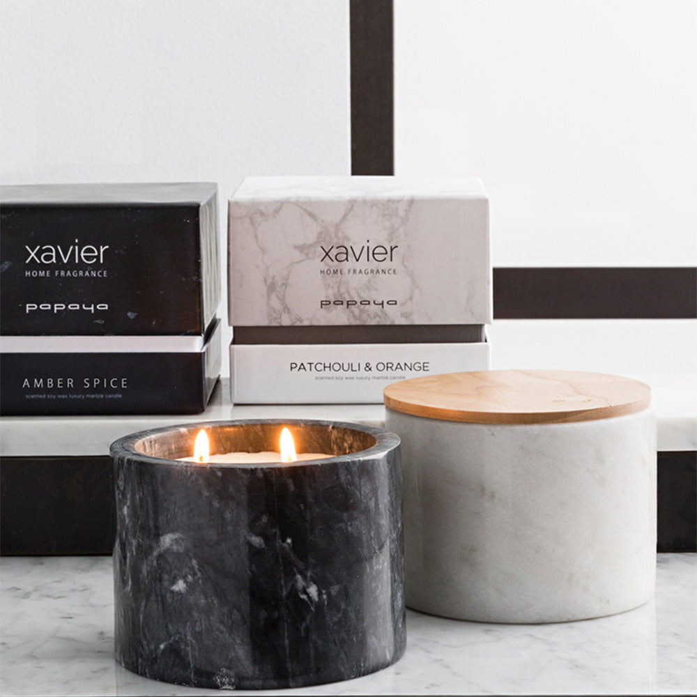 Luxury candle in white marble pot patchouli and orange
