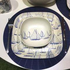 Bamboo plates and bowl - nautical design