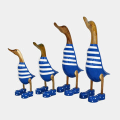 Family of 4 hand carved ducks blue and white stripes