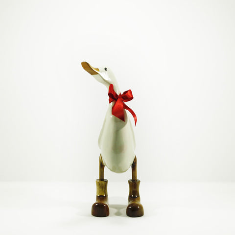 Duck - hand carved in bamboo wood with rich cream coloured lacquer