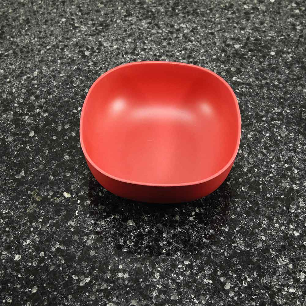 small red bamboo bowl