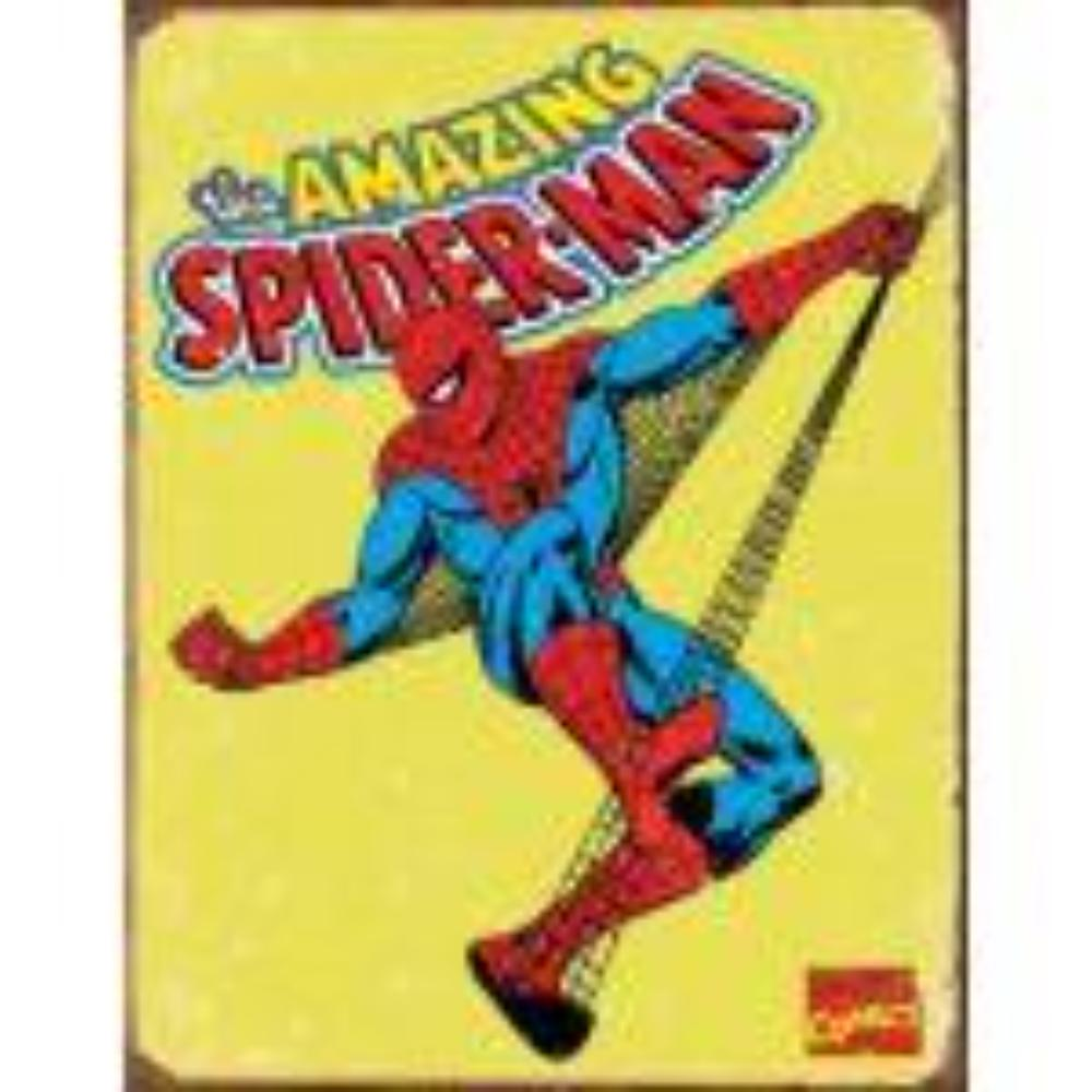 The Amazing Spiderman on a retro tin sign