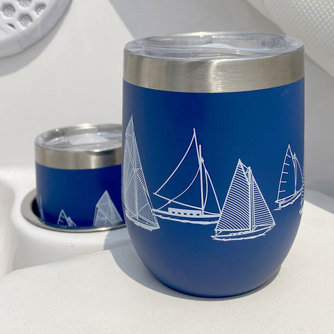 stainless steel wine tumbler with nautical design