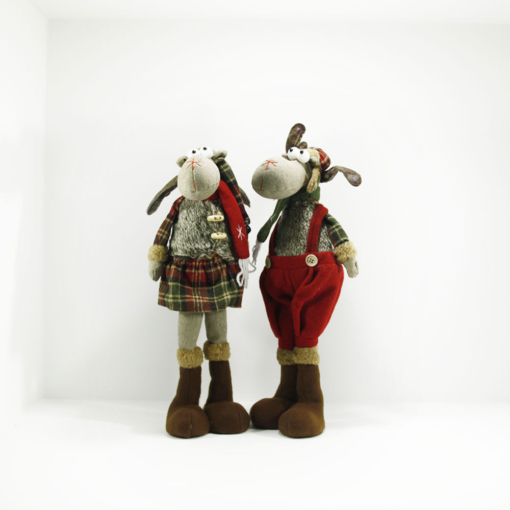 young male and female plush moose 43cm tall