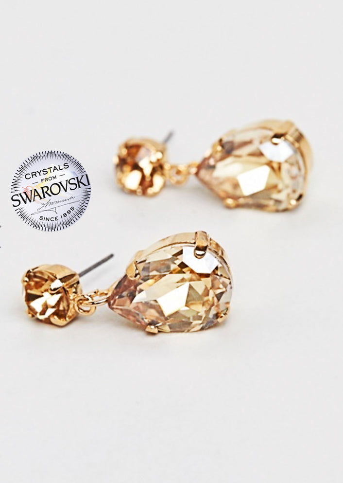 Just Launched: Gold Swarovski Pear Drop Earrings