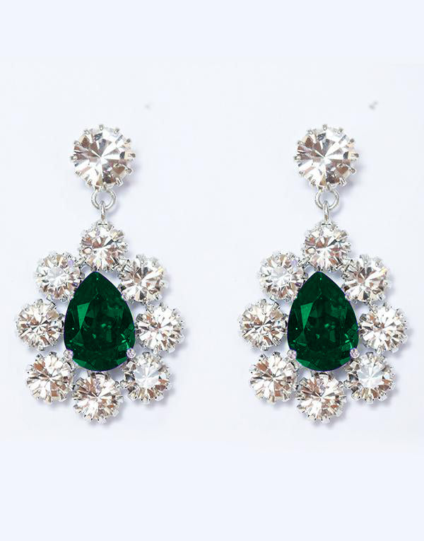 Dark Green Angelica Swarovski Earrings