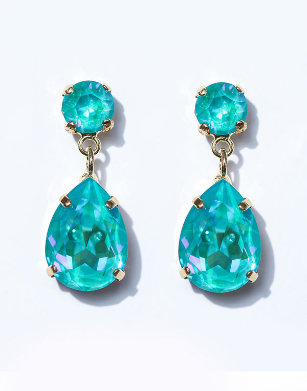 Classic Bright Blue Pear Drop Swarovski Earrings