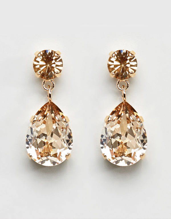 Gold Pear Drop Swarovski Earrings