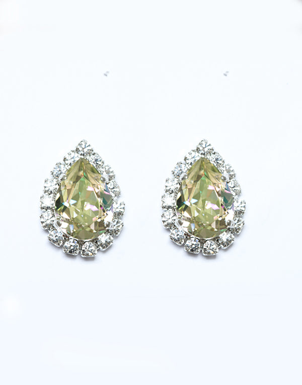Light Green Pear Swarovski Studs