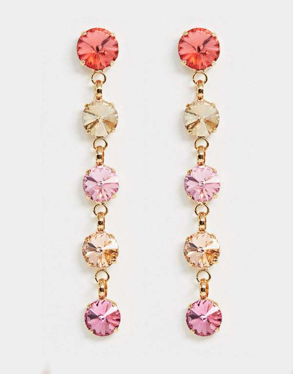 Christina Pink and Gold Swarovski Earrings