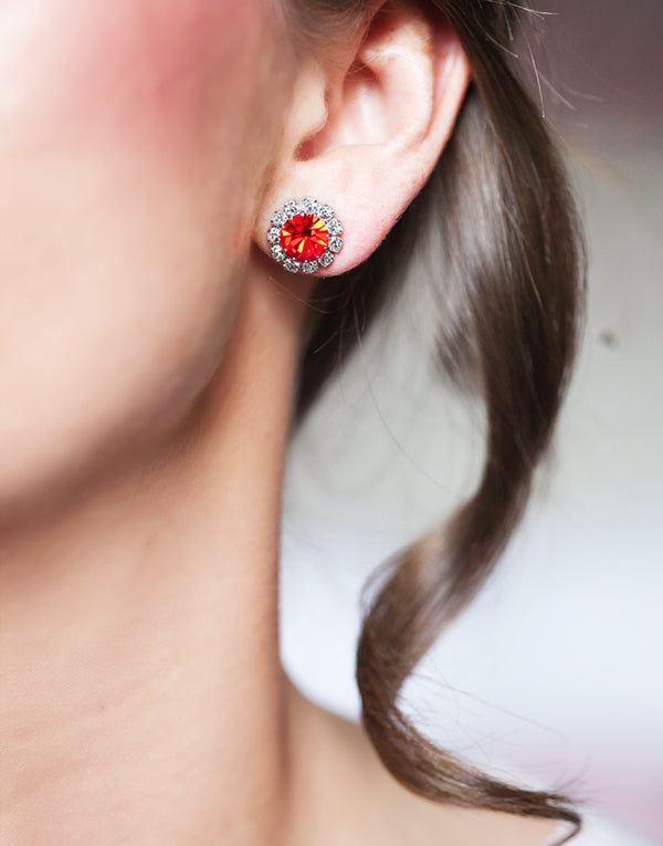 Bright Orange Swarovski Studs