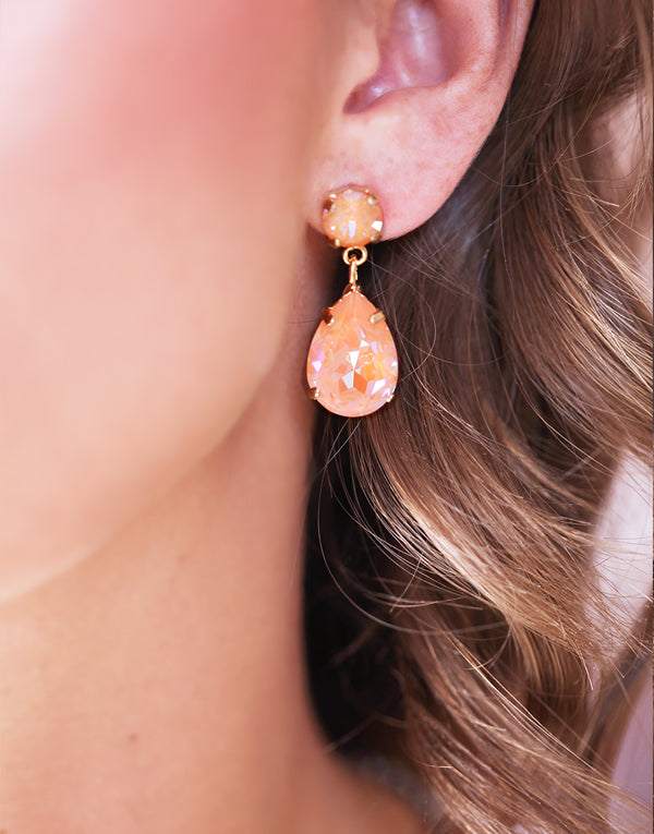 Classic Peach Pear Drop Swarovski Earrings