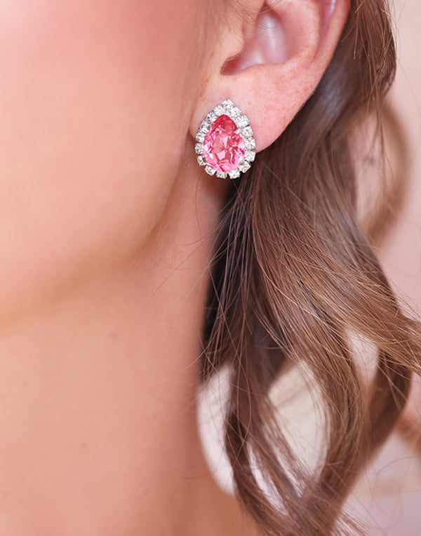 Crystal Pink Pear Studs