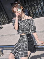 Dead Bear Crop Top & Skirt-Sets-ntbhshop