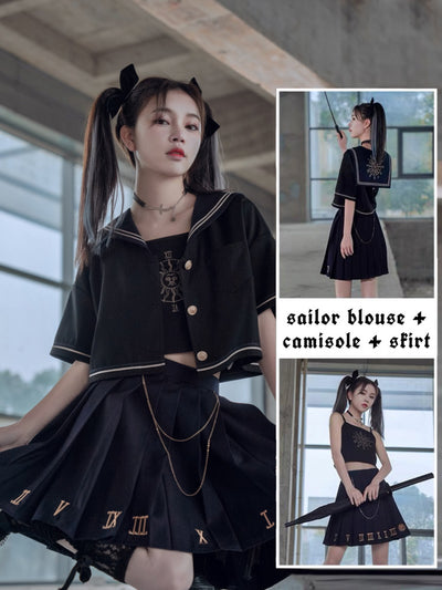 Planetary Hours Sailor Blouse, Camisole & Skirt-Sets-ntbhshop