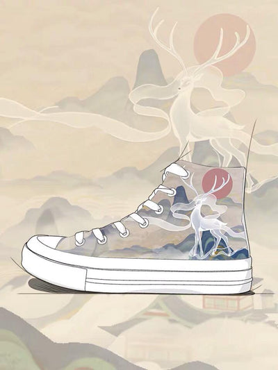 Mythical Deer High Top Sneakers-Canvas Shoes-ntbhshop