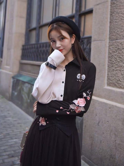 Rock N Rose Shirt & Midi Skirt-Sets-ntbhshop