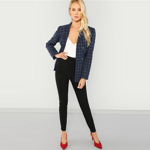 Tiffany's Plaid Double Breasted Blazer
