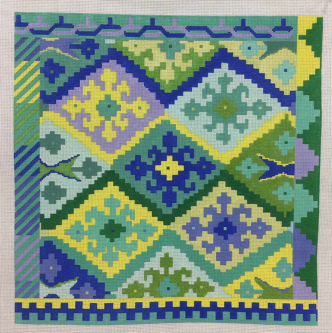 Kilim Square w/ Stepped Diamonds