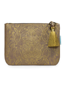 Paisley Gold Pocket Clutch