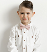 Load image into Gallery viewer, Rose Linen Bow Tie
