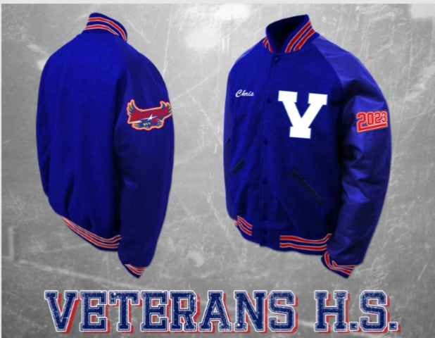 Veterans All Blue Letterman Jacket