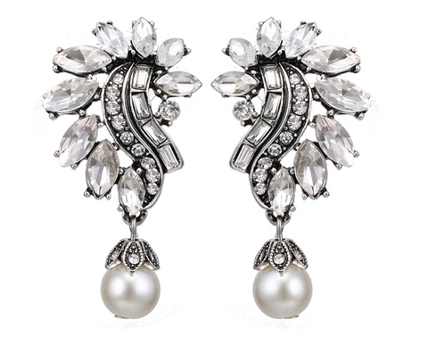 Vintage-style, antique silver earrings with crystal and pearl
