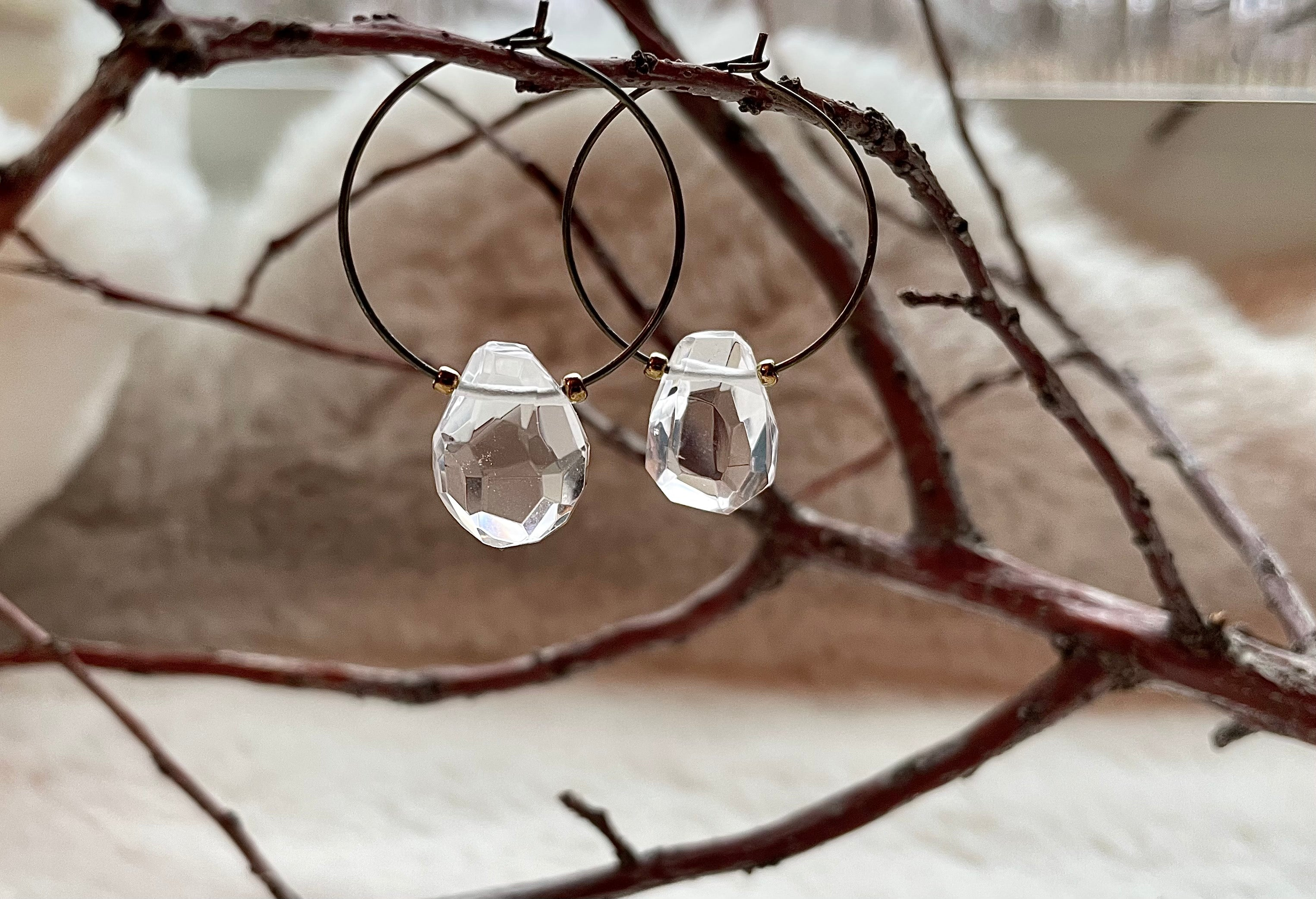Teardrop Quartz Hoops