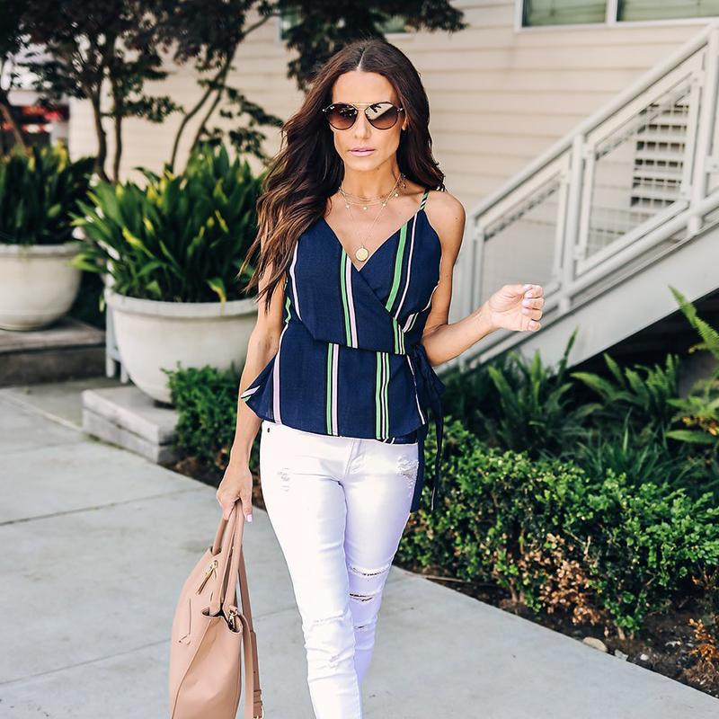 Striped Sashes Lace-up Chiffon Blouse