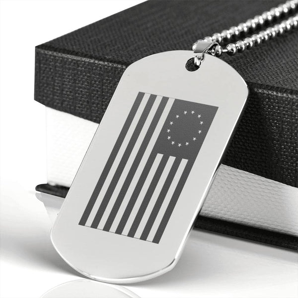 Betsy Ross Flag - Surgical Steel Dog Tags with gift box on white background
