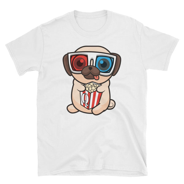 3D glasses Pug eating Popcorn and Box has a Q on it - Short-Sleeve Unisex T-Shirt