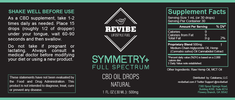 Symmetry Plus - Full Spectrum 500mg Hemp Oil