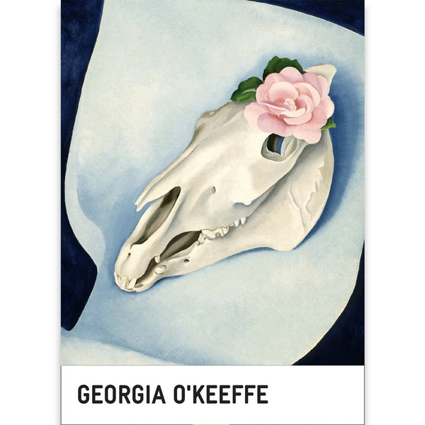 Georgia O'Keeffe Horse's Skull with Pink Rose Notecard Box