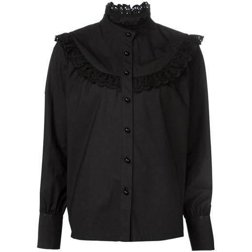 Co Long Sleeve Blouse with Ruffled Yoke in Black