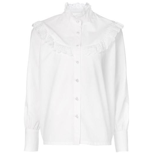 Co Long Sleeve Blouse with Ruffled Yoke in White