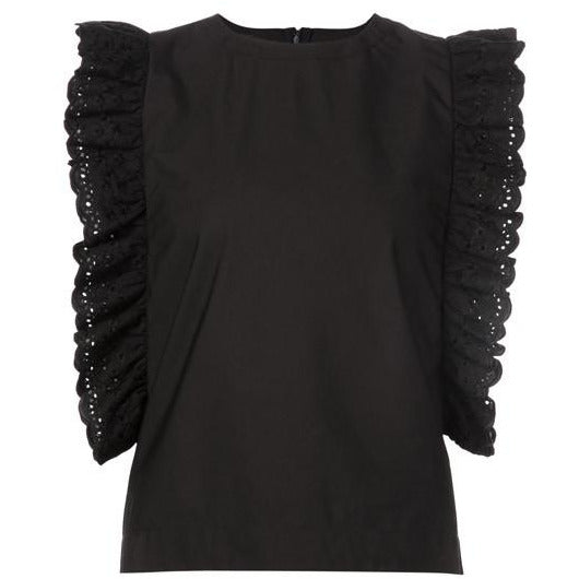 Co Short Sleeved Blouse in Black