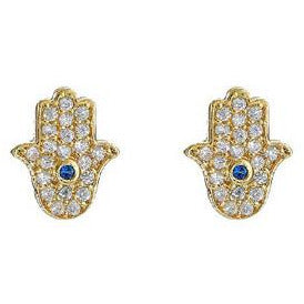 Mini Hamsa Earrings in Gold