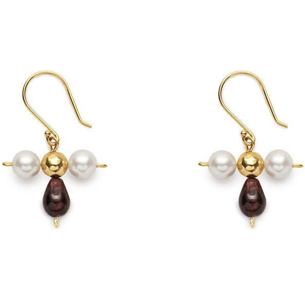 Byzantine Gems Drop Earrings with Garnet and Pearl