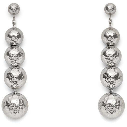Byzantine Graduated Bead Earrings in Silver