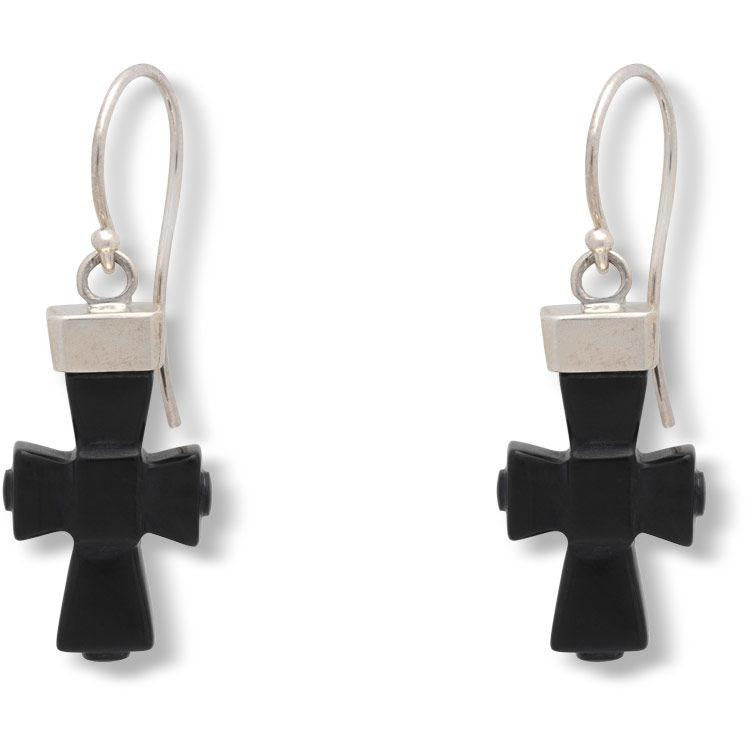 Coptic Cross Earrings with Black Jasper