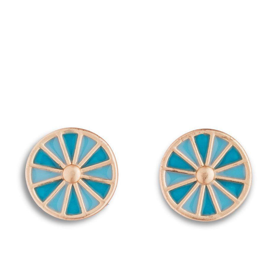 Egyptian Rosette Earrings in Aqua