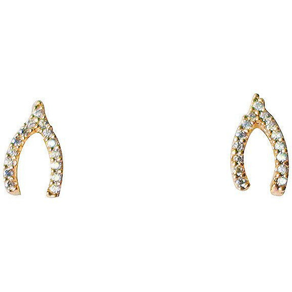 Mini Pavé CZ Wishbone Earrings in Gold