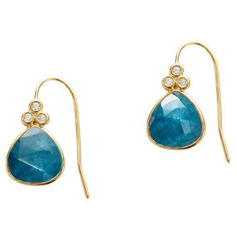 Stone Drop Earrings in Jade with Cubic Zirconia