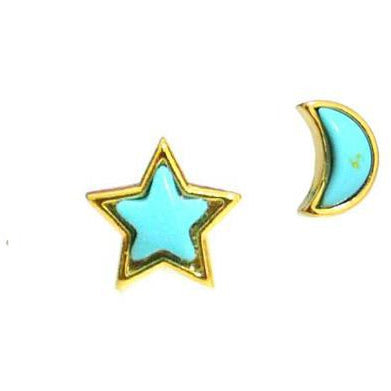 Star and Moon Earrings with Turquoise