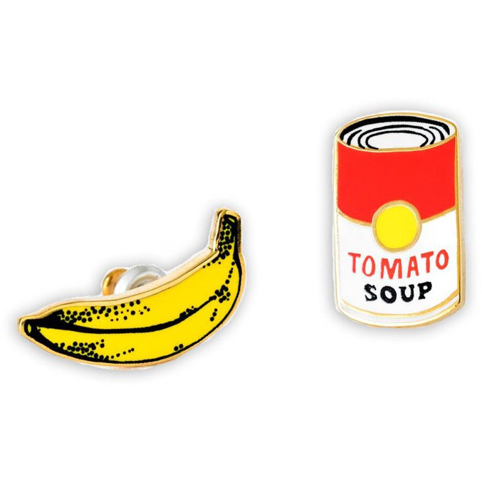 Pop Art Banana and Soup Earrings
