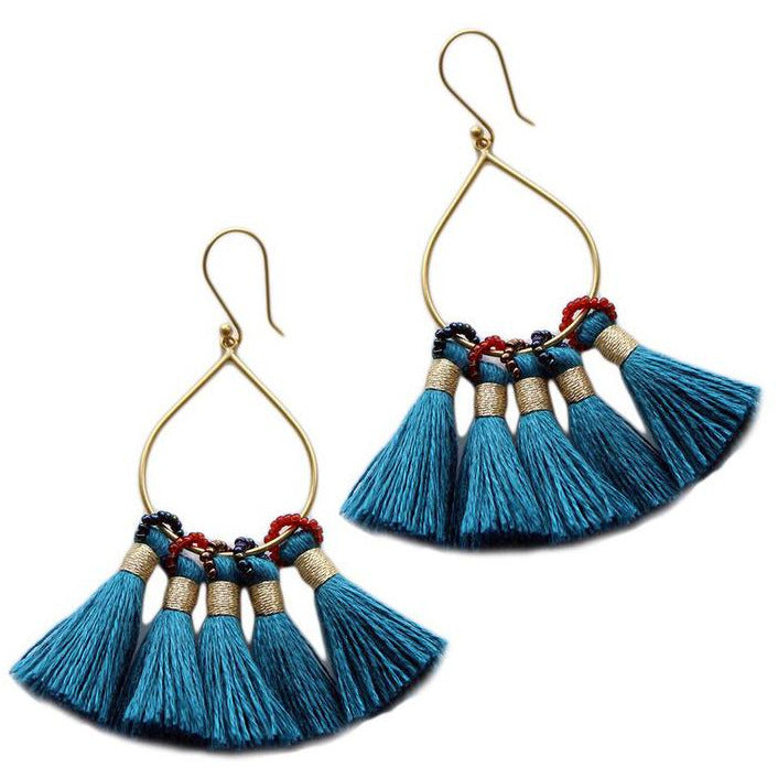 Jolie Earrings in Teal
